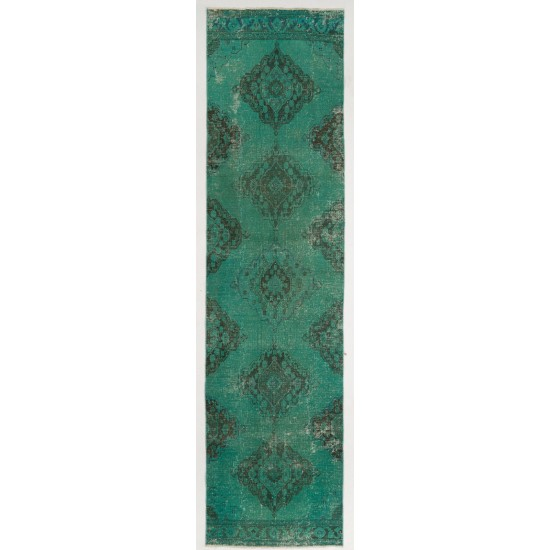 Turquoise Blue Color Overdyed Handmade Vintage Turkish Runner