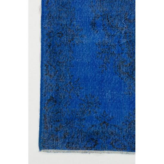 Blue Color OVERDYED Handmade Vintage Turkish Rug