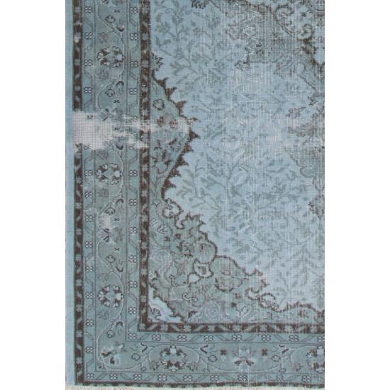 Vintage Handmade Turkish Rug with Medallion Design Over-dyed in Light Blue Colors
