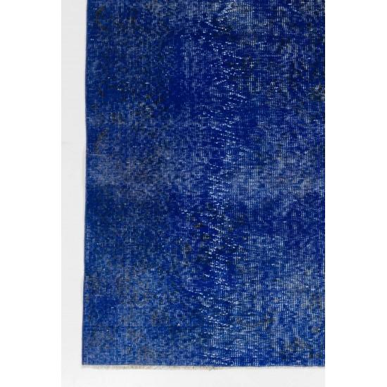Blue Color OVERDYED Distressed Vintage Turkish Rug