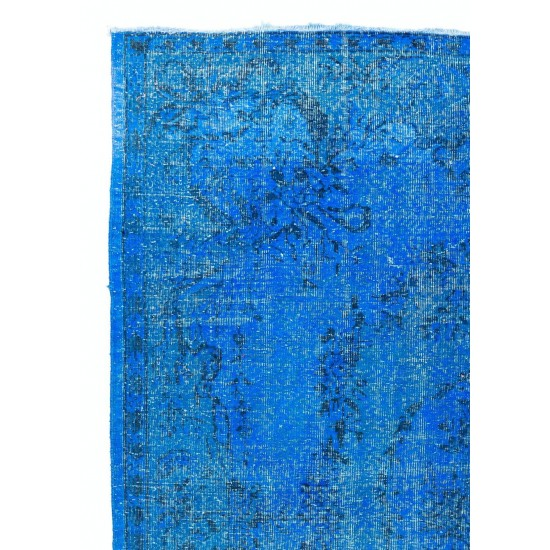 Blue Color OVERDYED Distressed Vintage Turkish Rug. Great for Modern Home-Office