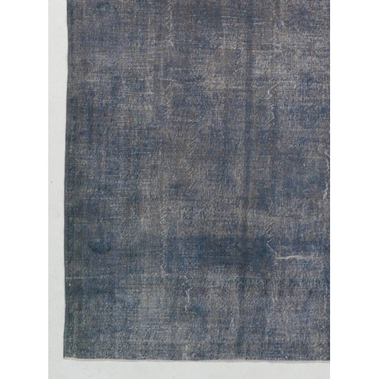 Abstract Distressed Vintage Turkish Rug. Over-Dyed in light Blue Color