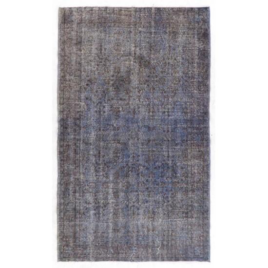 Gray & Light Blue Color OVERDYED Handmade Vintage Turkish Rug