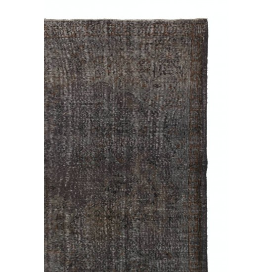 Abstract Distressed HANDMADE Turkish rug Overdyed in Gray Color.