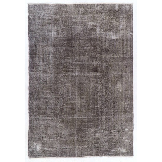 Abstract, Distressed Vintage Rug Overdyed in Gray