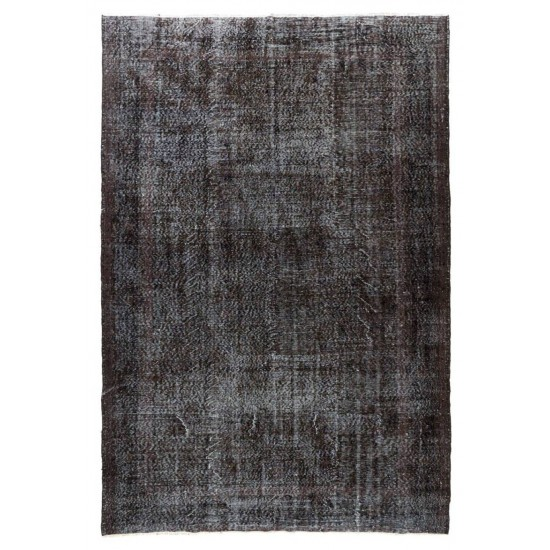 Abstract, Distressed Vintage Rug Overdyed in Charcoal Gray & Light Blue Color