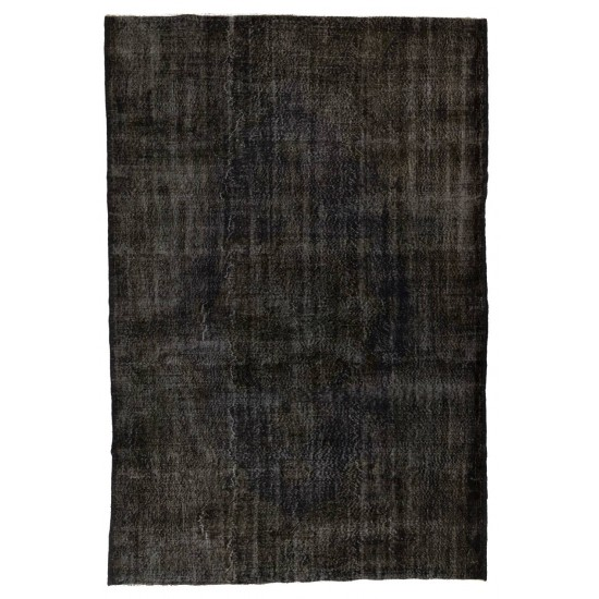 Abstract, Distressed Vintage Rug Overdyed in Charcoal Gray Color