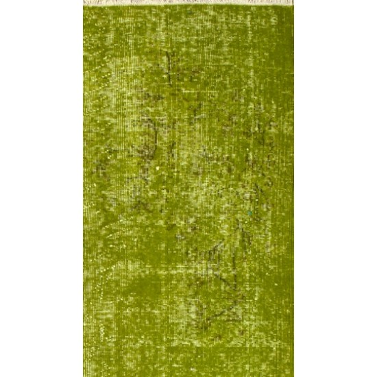 Abstract, Distressed Vintage Handmade Turkish Rug Over-dyed in Light Green Color