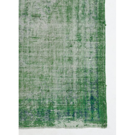 Abstract, Distressed Vintage Handmade Turkish Rug in Green Color. Woolen Floor Covering