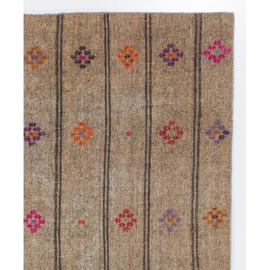 "Vintage Handmade Anatolian Kilim ""Flat-Weave"" with Colorful Motifs"