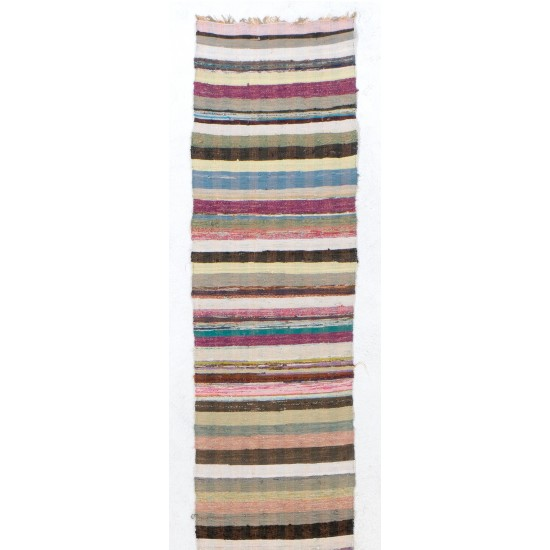 (Adjustable) Extra-Long and Narrow Vintage Striped Cotton Runner Kilim
