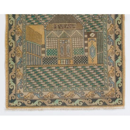 1940s Pictorial Prayer Rug from Konya, Inscribed as MEVLANA Rumi, Poet