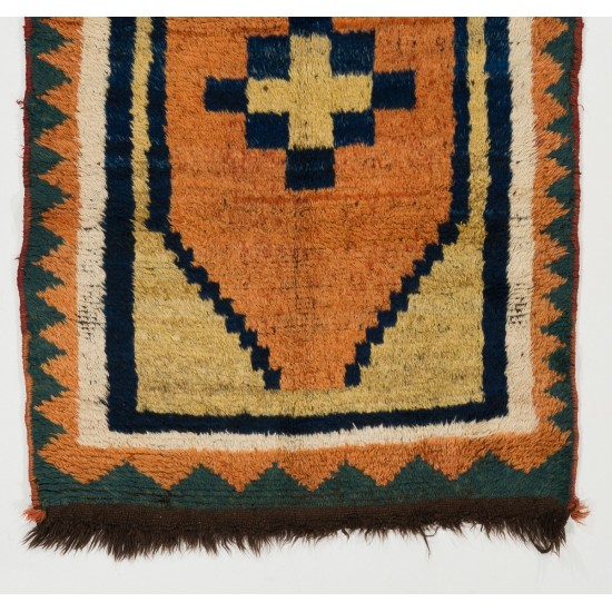 Antique Gabbeh Rug with Geometric Medallion Design. Made of Wool.