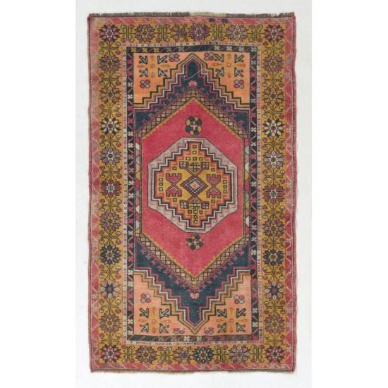 Authentic One of a Kind Handmade Vintage Turkish Village Rug, Soft Wool Pile