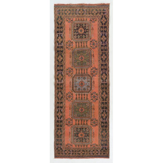 Authentic Vintage Turkish Village Runner. Hand-knotted Wool Rug for Hallway