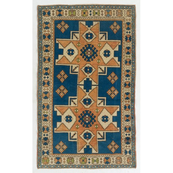 Blue and Red Color, Vintage Hand Knotted Turkish Rug with Medallion Design