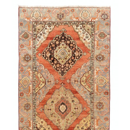 Antique Hand-Knotted Anatolian Oushak Runner Rug. One of a kind Wool Carpet