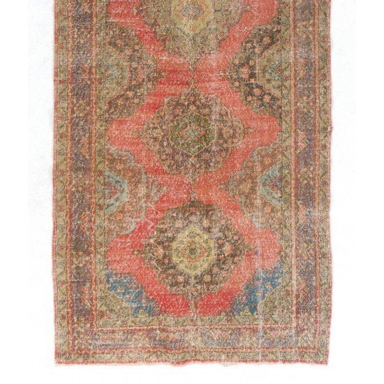 Authentic One-of-a-Kind Turkish Runner, circa 1940. Handmade Vintage Wool Rug for Hallway decor. Great for Modern Office and Home.