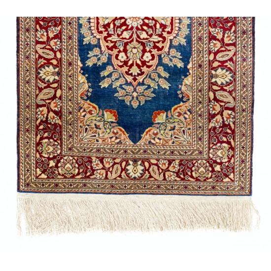 Outstanding 100% Silk Vintage Handmade Kayseri Rug, Wall Hanging