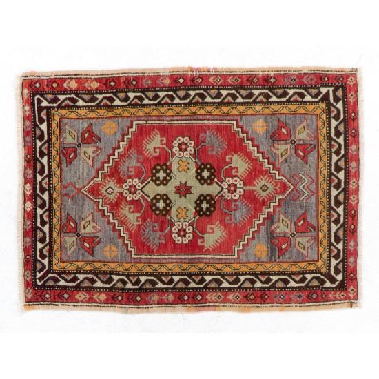 """1950s Scatter Turkish """"Dazkiri"""" Rug, Doormat, Wall Hanging, Seat"""