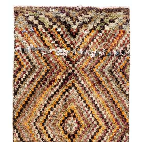 Checkered Mid-Century Tulu Rug in Earthy Colors