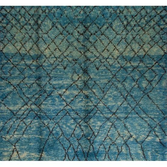 Modern Moroccan Berber Wool Rug in Indigo Blue, Custom Options Available
