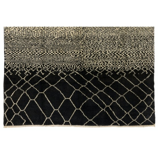 Contemporary Hand Knotted Moroccan %100 Wool Rug in Black and White Colors. Custom Options Available