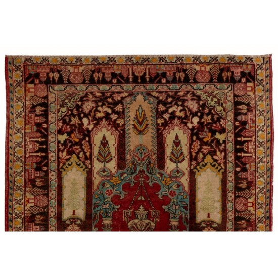 Vintage Hand-knotted Central Anatolian Prayer Rug
