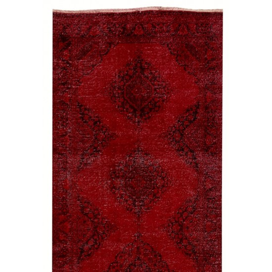 Mid-20th Century Handmade Anatolian Runner Rug Re-Dyed in Red Color