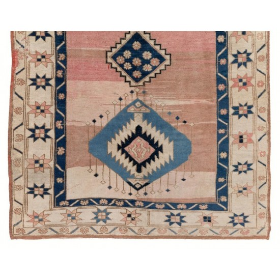 Vintage Tribal Hand-knotted Wool Turkish Area Rug in Pink and Blue