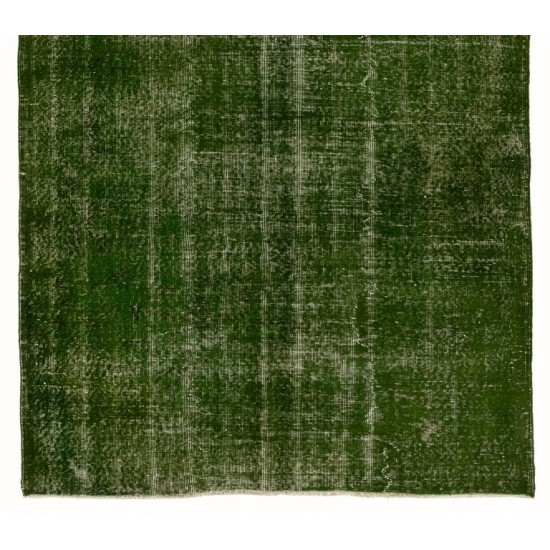 Distressed Vintage Handmade Turkish Rug Over-dyed in Green Color. Woolen Floor Covering