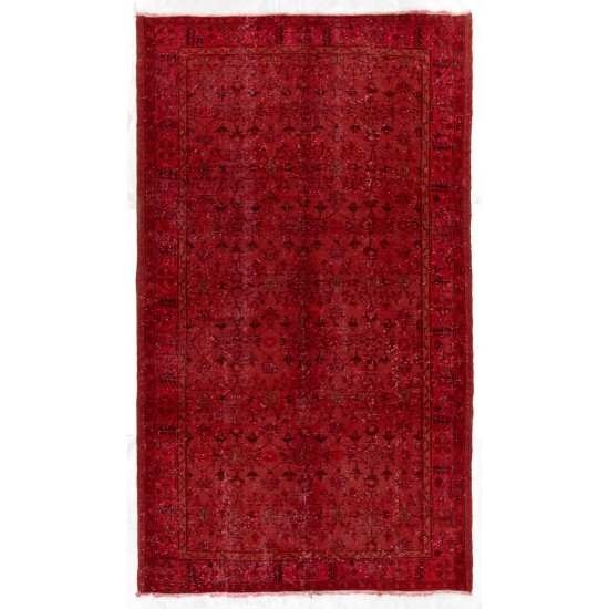 Vintage Handmade Turkish Rug Over-dyed in Red Color