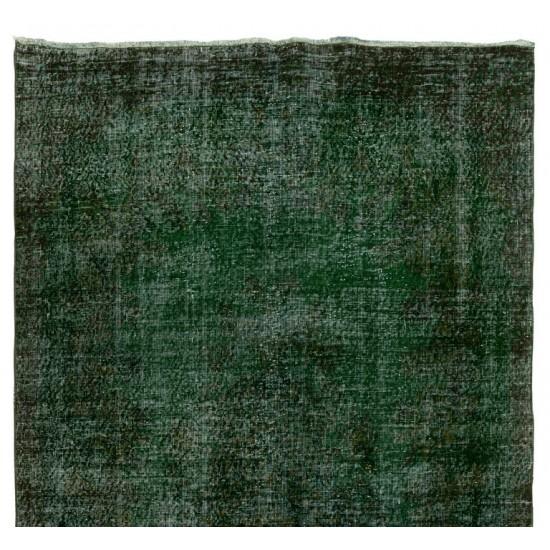Distressed Vintage Handmade Turkish Rug Over-dyed in Green Color. Woolen Floor Covering