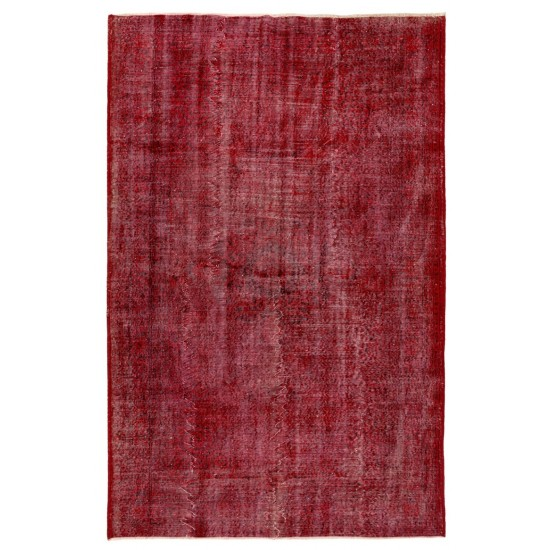 Distressed Handmade Turkish rug Overdyed in Red Color