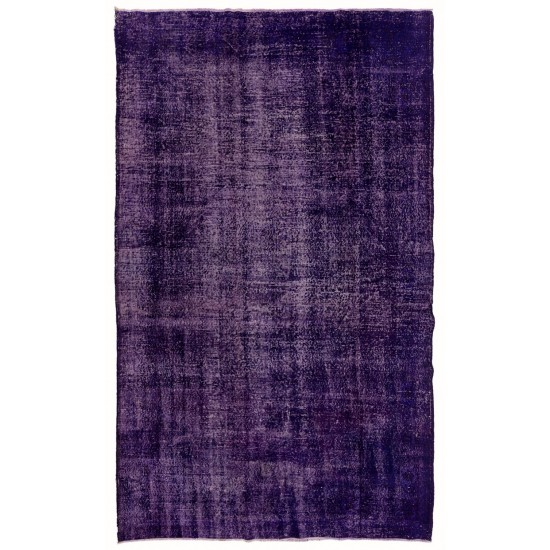 Abstract, Distressed Rug Overdyed in Dark Purple Color