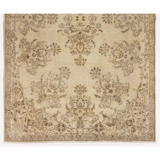Hand-knotted Vintage Turkish Area Rug in Soft Earthy Colors