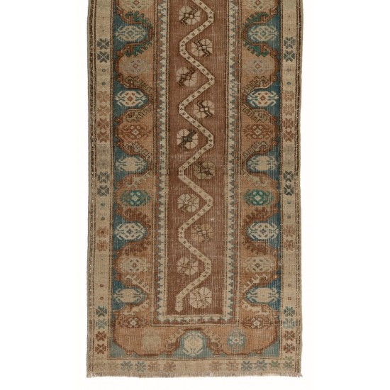 Antique Hand Knotted Central Anatolian Runner with Wool Pile One of a Kind