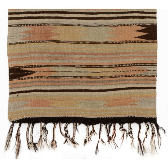 Hand-woven Vintage Striped Anatolian Kilim (Flat-weave), 100% Wool