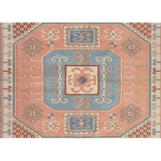 Fine Hand-Knotted Vintage Rug with Soft Colors and All Natural Dyes