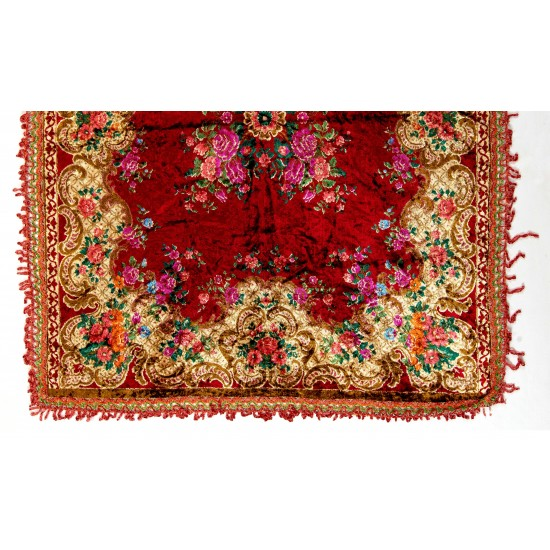 Vintage Velvet Table Cover with Crochet Border, circa 1940, One-of-a-Kind Floral Wall Hanging from Moldova