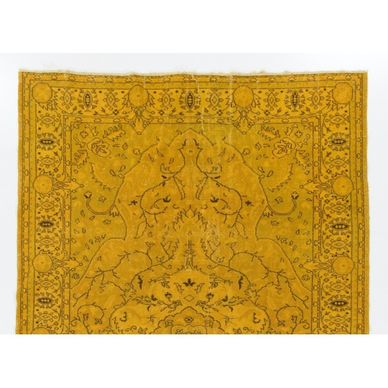 Yellow Color Over-dyed Vintage Handmade Turkish Rug with Medallion Design