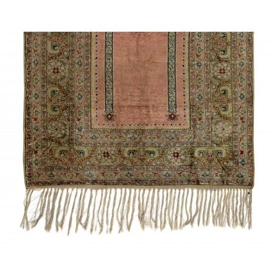 Antique Silk Kayseri Prayer Rug