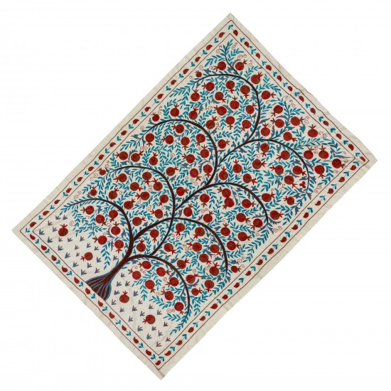 Uzbek Suzani Textile with Pomegranate Tree Design. Embroidered Cotton & Silk Wall Hanging, Bed Cover