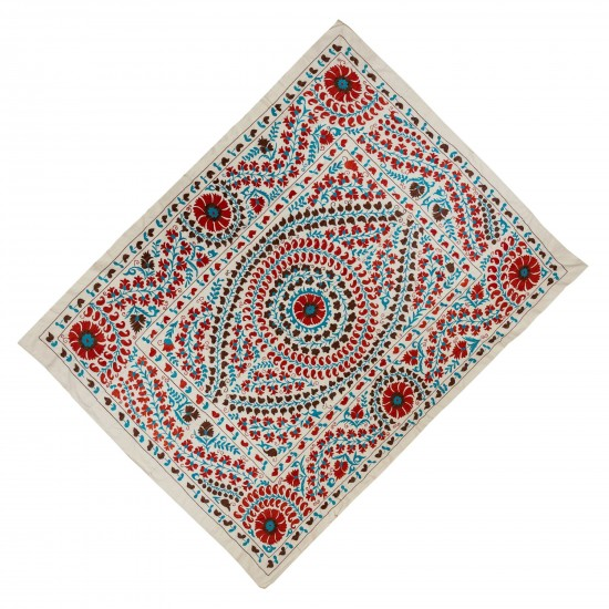 Brand New Uzbek Suzani Textile. Embroidered Cotton & Silk Wall Hanging, Bed Cover
