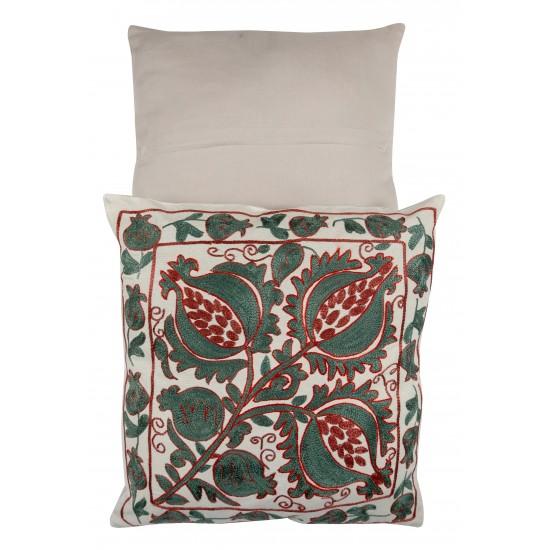 Uzbek Suzani Pillow Case. 21st Century Hand Embroidered Cotton & Silk Cushion Cover