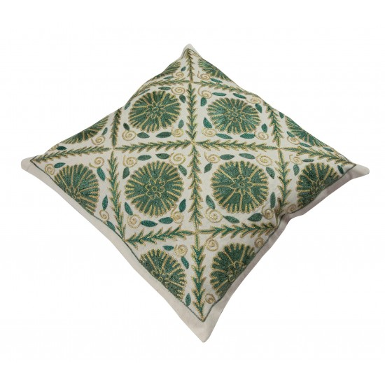 Brand New Uzbek Suzani Pillow Case. Embroidered Cotton & Silk Cushion Cover