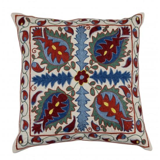 Uzbek Suzani Pillow Case. New Hand Embroidered Cotton & Silk Cushion Cover