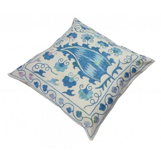 Traditional Uzbek Suzani Pillow Case. Embroidered Cotton & Silk Cushion Cover