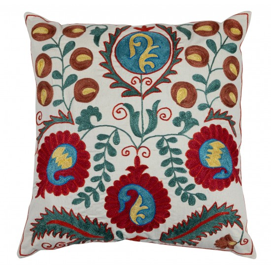Decorative Uzbek Suzani Pillow Case. Embroidered Cotton & Silk Cushion Cover