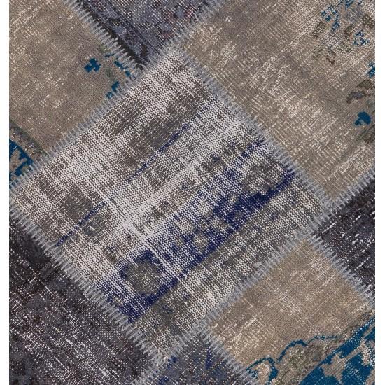Round Handmade Turkish Patchwork Rug, Circular Vintage Re-Dyed Patchwork Carpet